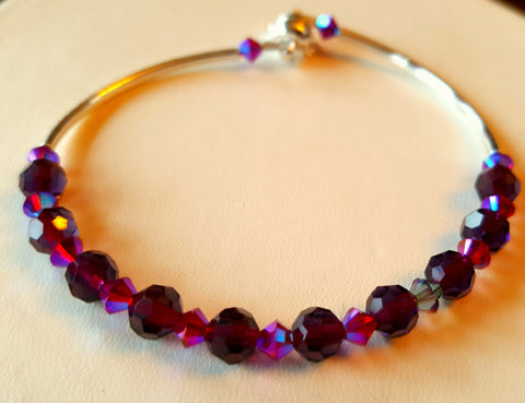 Crystal Magnetic Clasp Bracelet #024 Magenta Purple & Safety Chain
