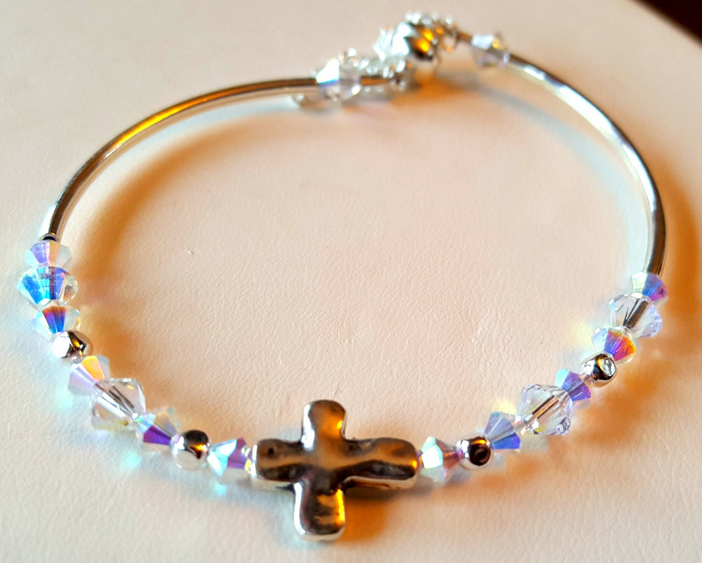 Crystal Magnetic Clasp Bracelet #025 Religious Cross Clear Beads & Safety Chain