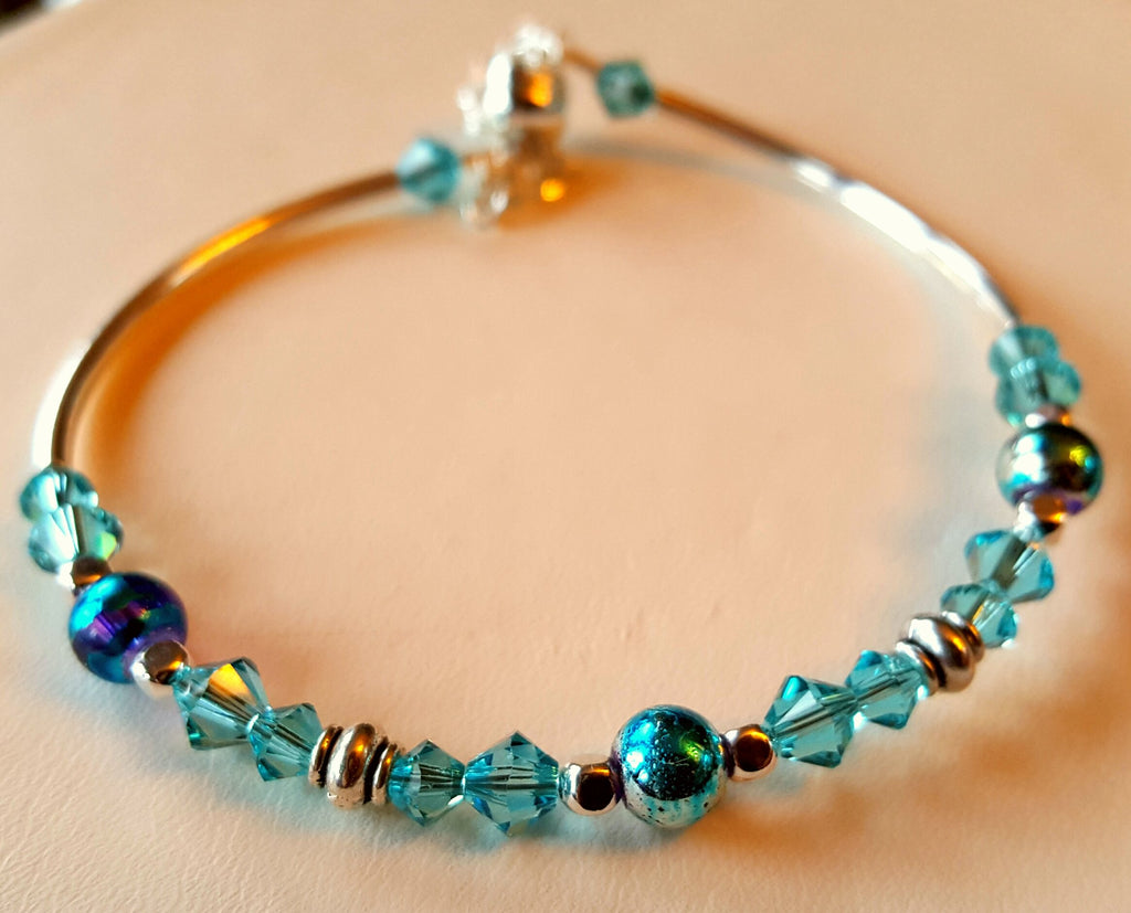 Crystal Magnetic Clasp Bracelet #026 Turquoise Blue Beads & Safety Chain