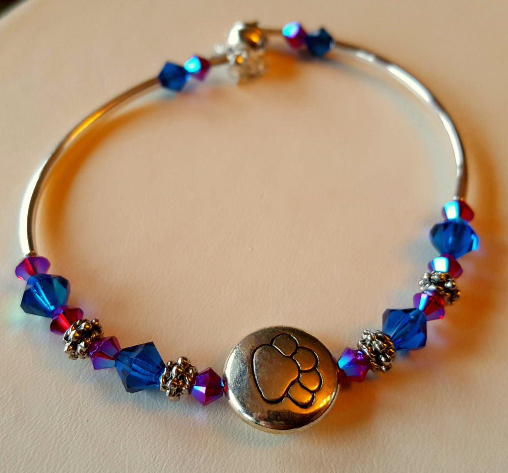 Crystal Magnetic Clasp Bracelet #028 Metal PAW PRINT ANIMAL LOVERS Center Blue & Magenta Crystals & Safety Chain