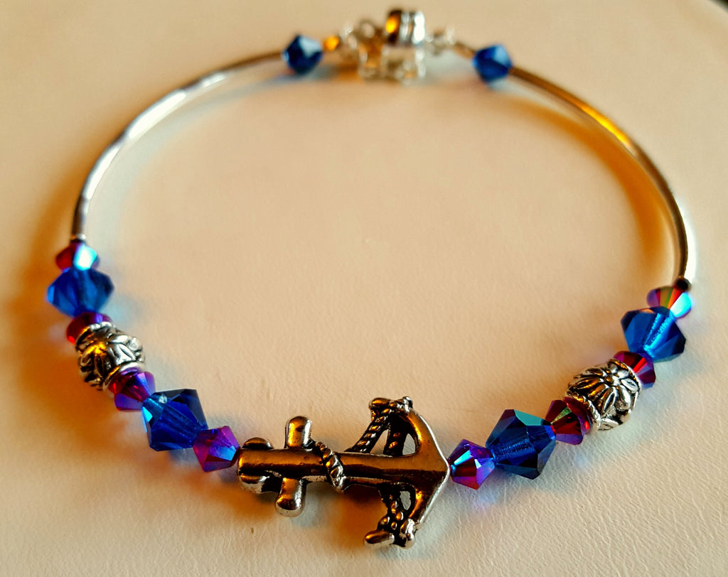 Crystal Magnetic Clasp Bracelet #029 Metal Nautical Anchor Center Blue & Magenta Crystals & Safety Chain