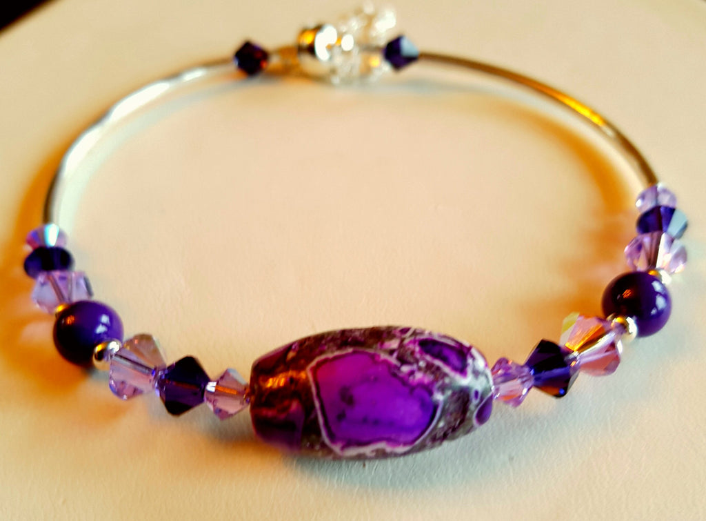 Crystal Magnetic Clasp Bracelet #030 Purple & Clear Beads, Crystals, & Safety Chain