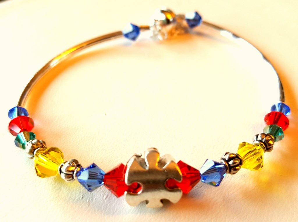 Crystal Magnetic Clasp Bracelet #033 AUTISM AWARENESS Red, Blue, Green, & Yellow Beads, Crystals, & Safety Chain