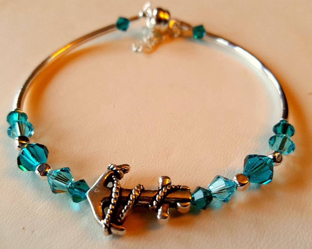Crystal Magnetic Clasp Bracelet #034 Nautical Anchor with Turquoise Blue Beads, Crystals, & Safety Chain