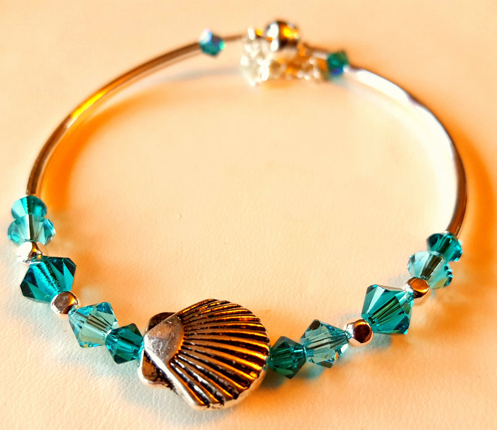 Crystal Magnetic Clasp Bracelet #035 Nautical SEA SHELL with Turquoise Blue Beads, Crystals, & Safety Chain