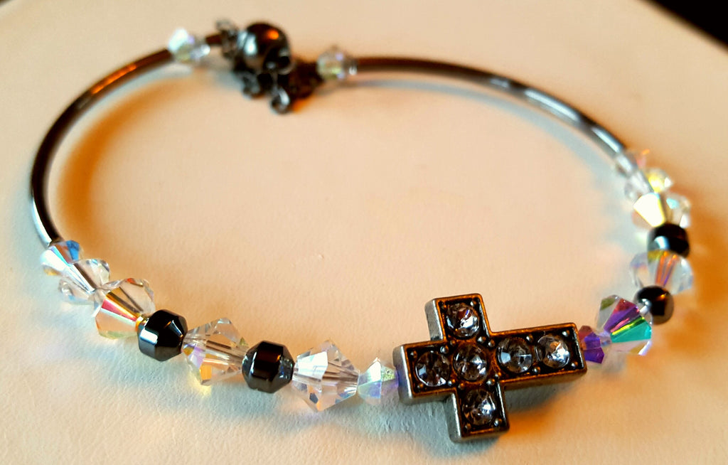 Crystal Magnetic Clasp Bracelet #036 RELIGIOUS CROSS with Gunmetal Sides, Clear Beads, Crystals, & Safety Chain
