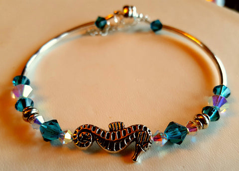 Crystal Magnetic Clasp Bracelet #037 Nautical Oceanic SEAHORSE center with Turquoise Blue , & Clear Crystals, & Safety Chain