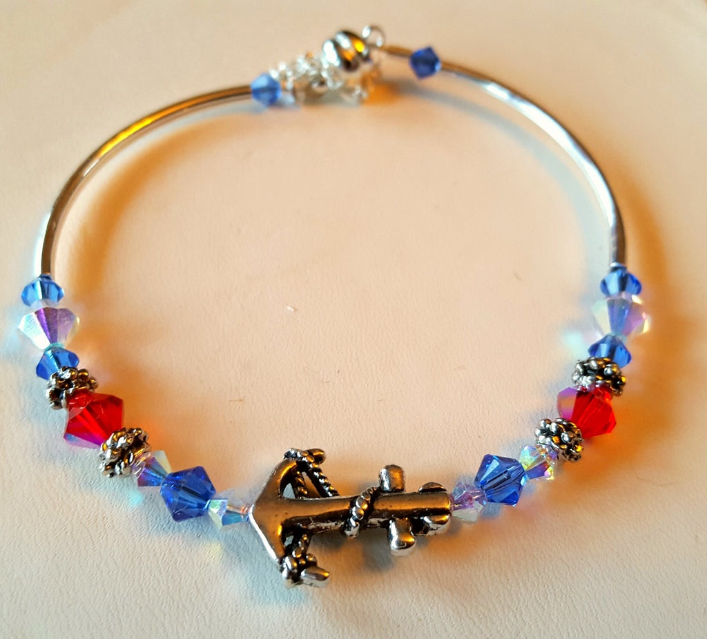 Crystal Magnetic Clasp Bracelet #042 Metal Nautical Anchor Center w/ Red, White, & Blue Crystals & Safety Chain