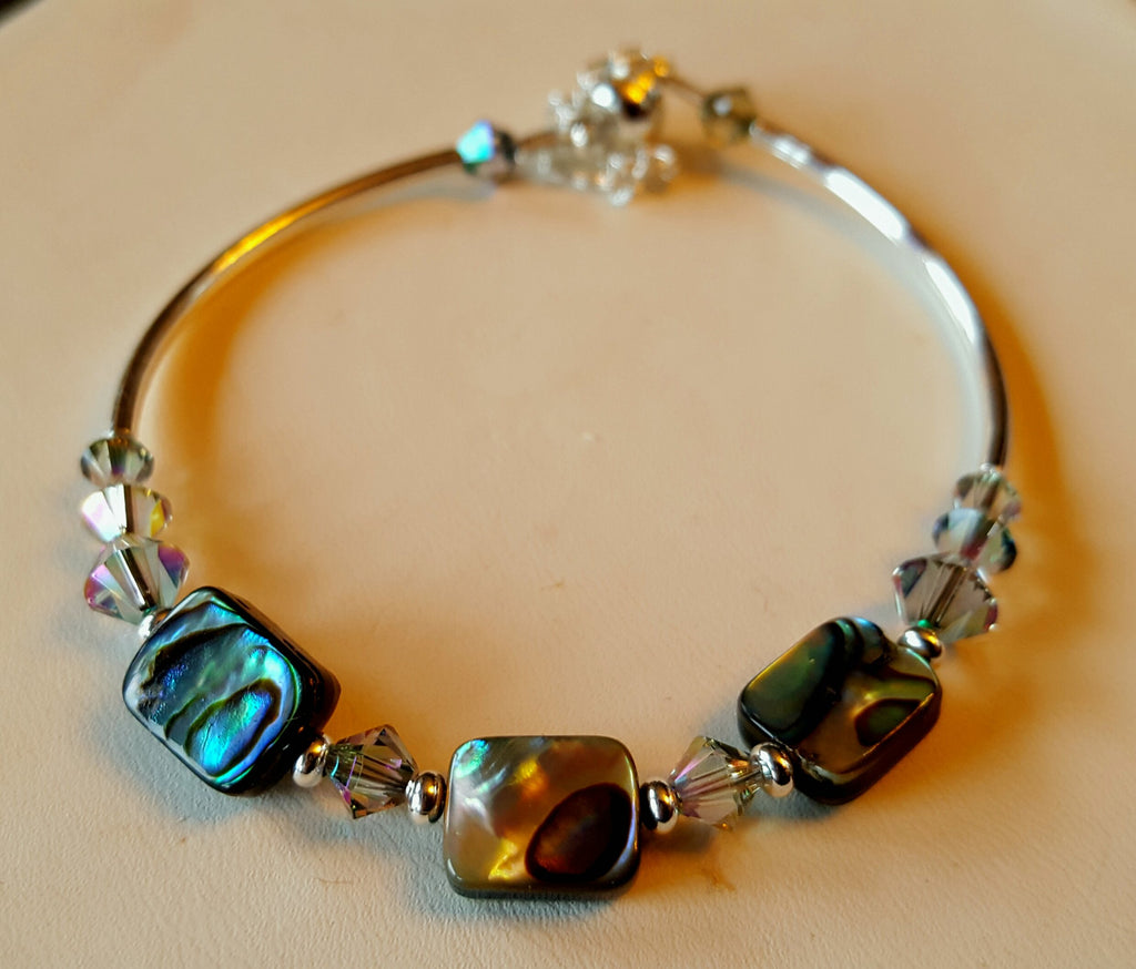 Crystal Magnetic Clasp Bracelet #043 Green Blue PAUA SHELL Beads & Safety Chain