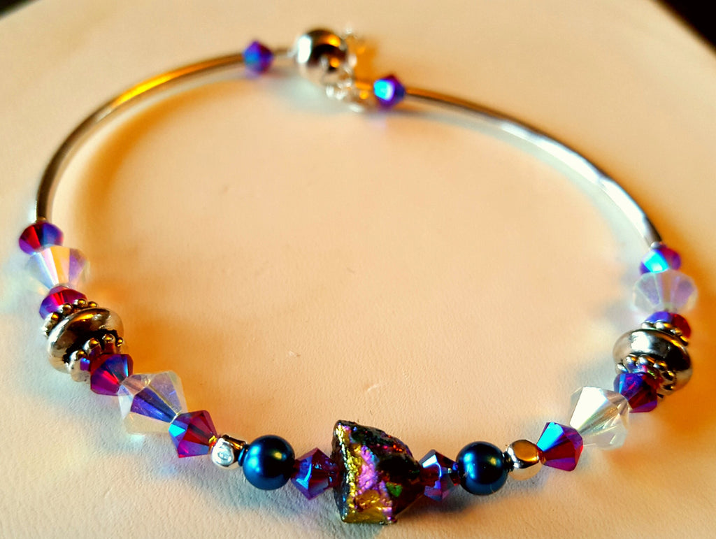 Crystal Magnetic Clasp Bracelet #044 Metallic Rainbow Nugget Center with Clear, Purple, & Magenta Beads & Safety Chain