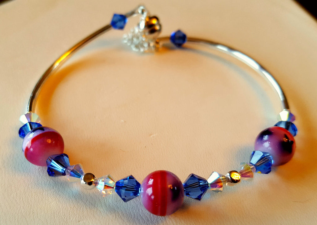 Crystal Magnetic Clasp Bracelet #045 PATRIOTIC USA RED WHITE & BLUE Crystals, Beads & Safety Chain