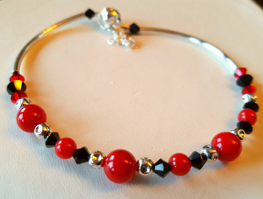 Crystal Magnetic Clasp Bracelet #046 RED & BLACK Crystals, & Safety Chain