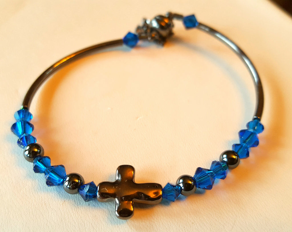 Crystal Magnetic Clasp Bracelet #047 RELIGIOUS CROSS with Gunmetal Cross & Sides, Capri Blue Crystals, & Safety Chain