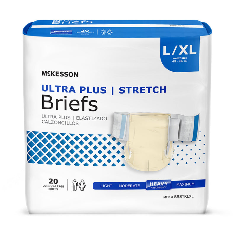 McKesson Ultra Plus Stretch Heavy Absorbency Incontinence Brief, Large / Extra Large
