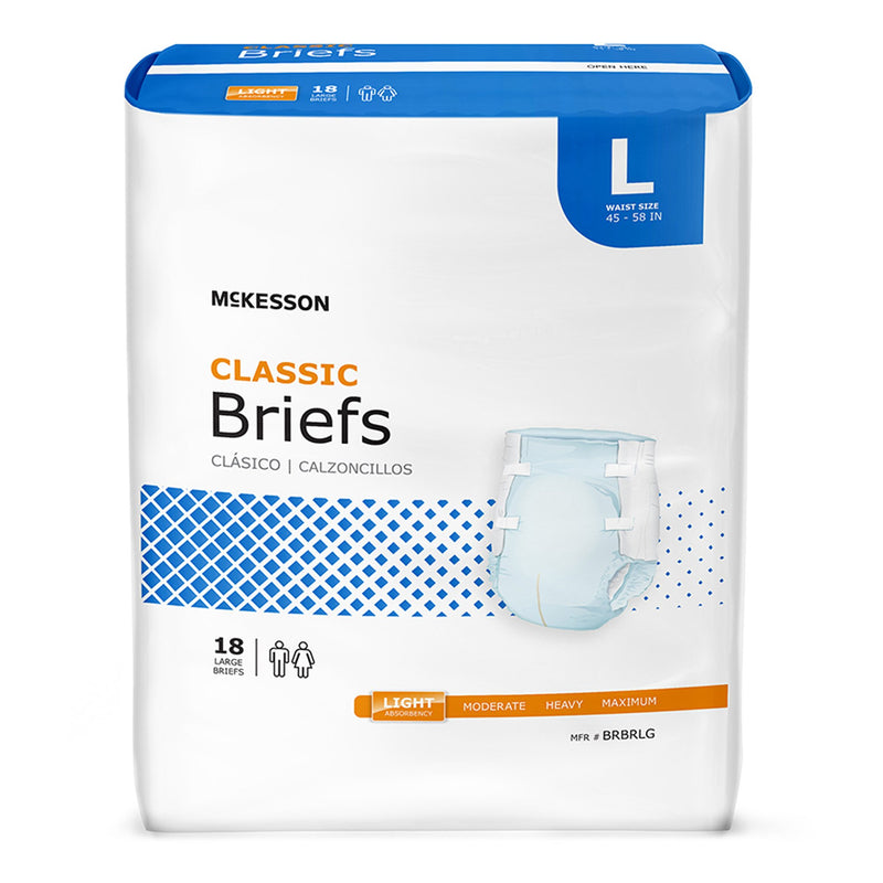 McKesson Classic Light Absorbency Incontinence Brief, Large