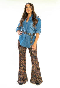 Leopard Sequin Flare Pants