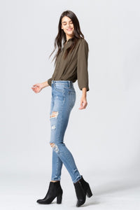 High Rise Distressed Crop Skinny Jeans