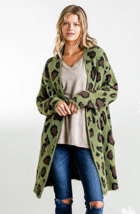 Animal Print Long Sleeve Fuzzy Open Front Sweater