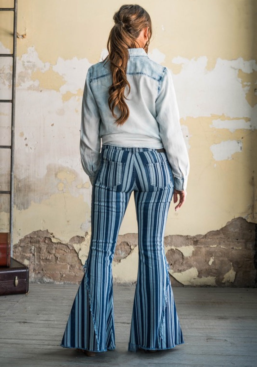 Stripe Button Fly Denim Flare Jeans