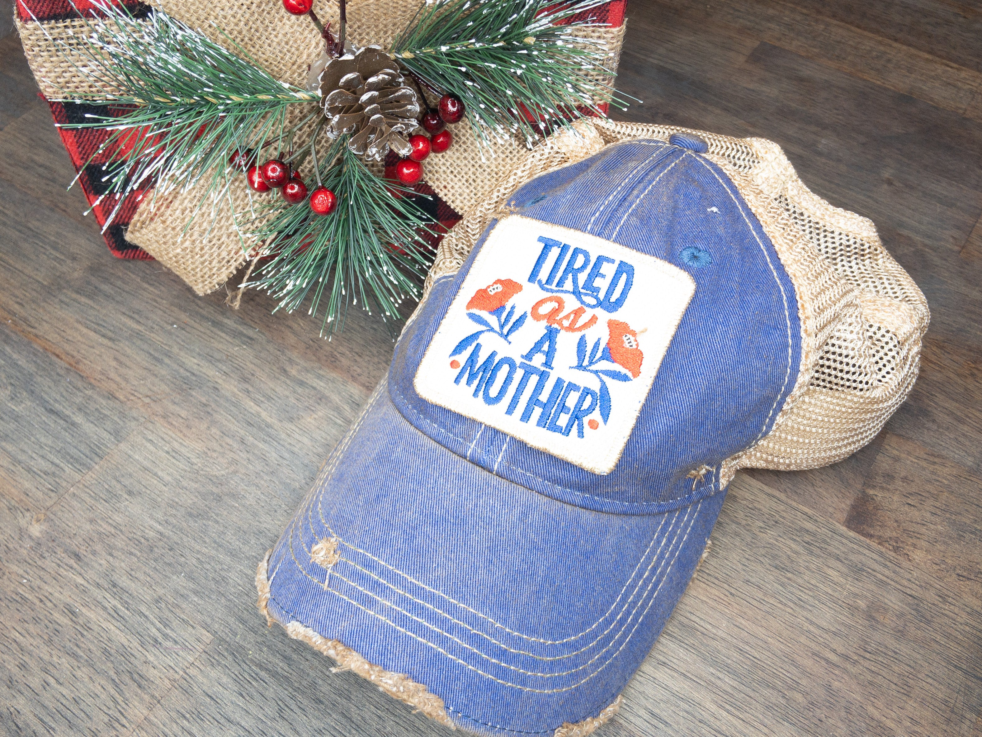 TIRED AS A MOTHER Distressed Ball Cap