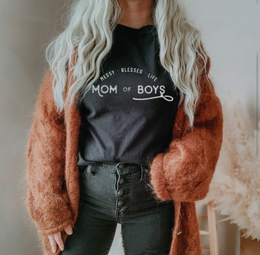Messy Blessed Life Mom of Boys Tee