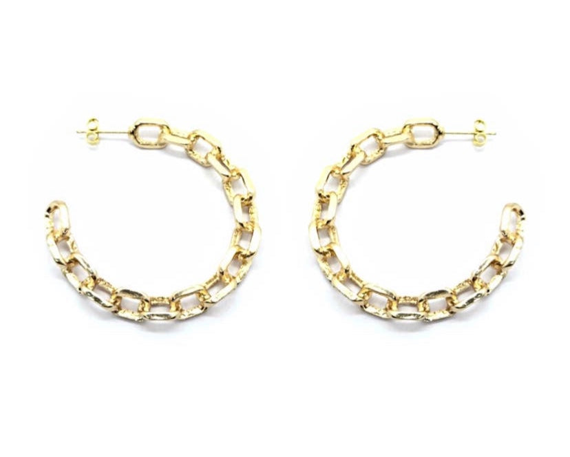 Gold Chunky Chain Link Hoop Earrings