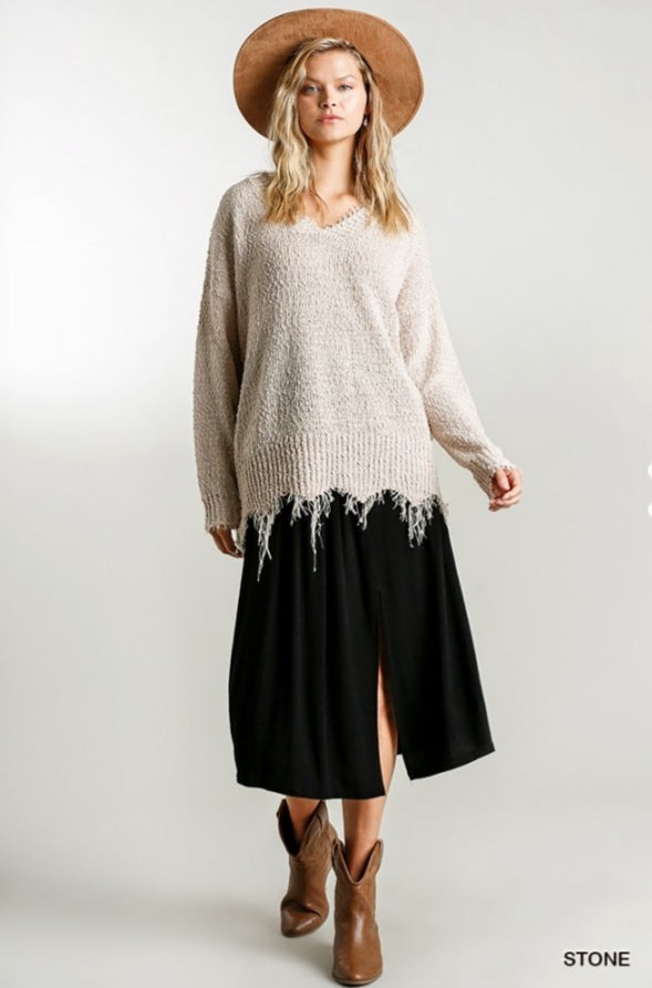 Long Sleeve Frayed Knit Sweater