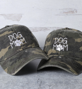 DOG MOM Camo Embroidered Cotton Ball Cap
