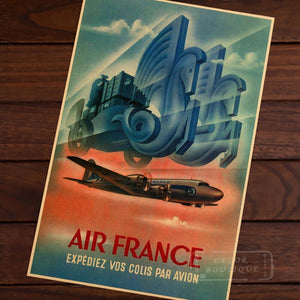 EXPEDIEZ VOS COLIS PAR AVION Air France Vintage Retro Decorative Frame Poster DIY Wall Canvas Sticker Home Bar Posters Home Deco