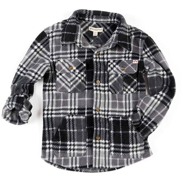 Snow Fleece Shirt | Charcoal Plaid