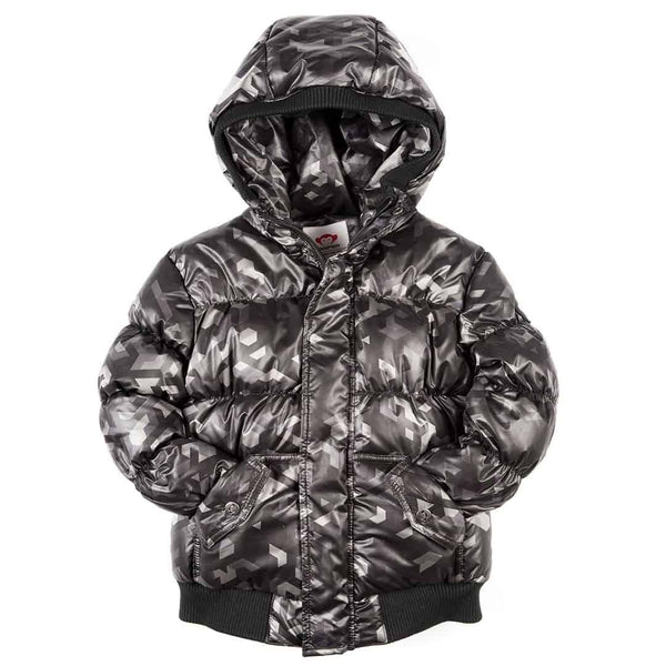 Puffy Coat | Black Geo
