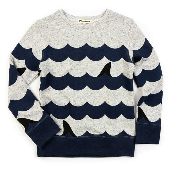 Striped Crewneck | Speckled Cloud Heather