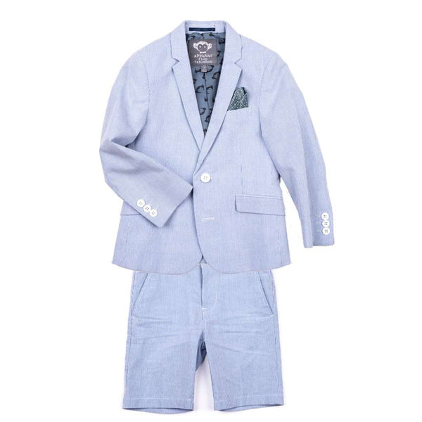 Mod Suit Shorts Set | Blue Bengal Stripe