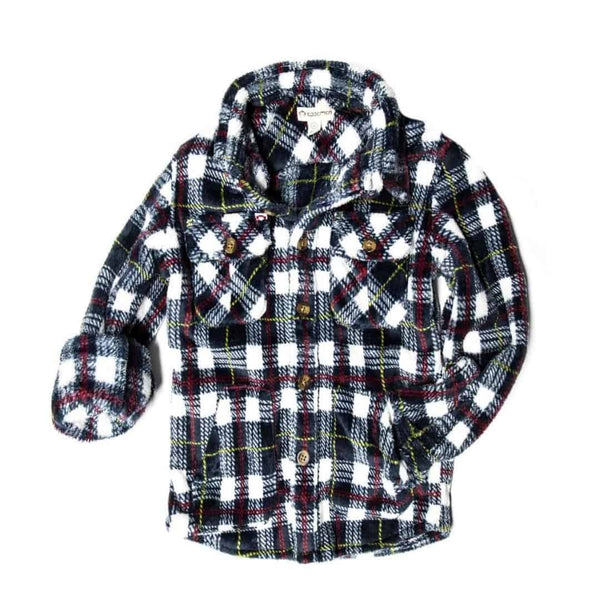 Snow Fleece Shirt | White/Navy Plaid