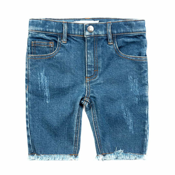 Rainbow Jean Short | Medium Blue Wash