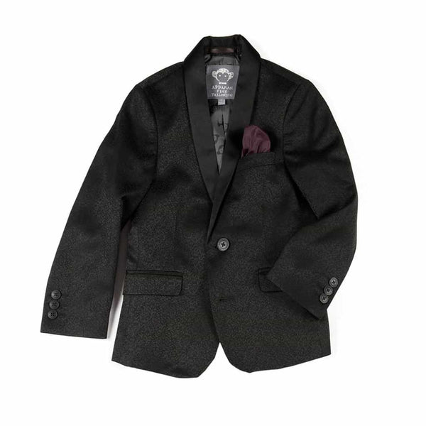 Shawl Collar Blazer | Black Brocade