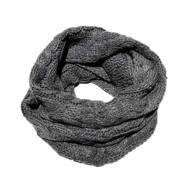 Cable Knit Infinity Scarf | Heather Medium Grey