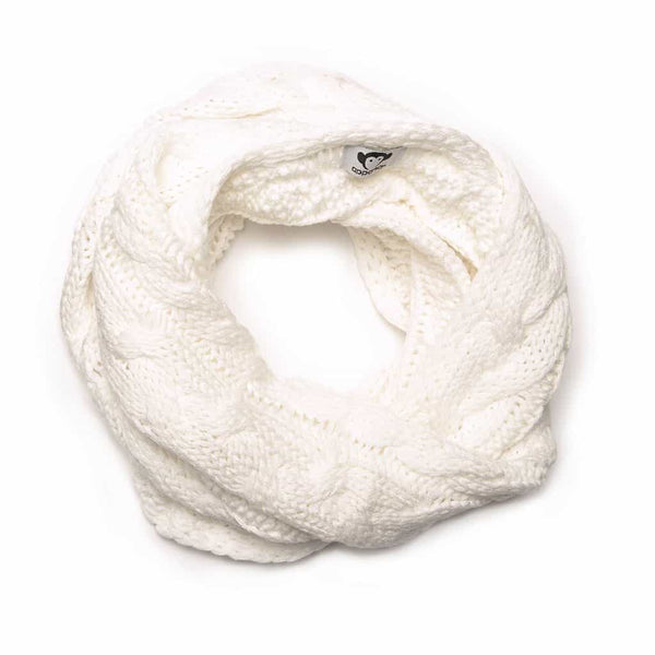 Cable Knit Infinity Scarf | Winter White