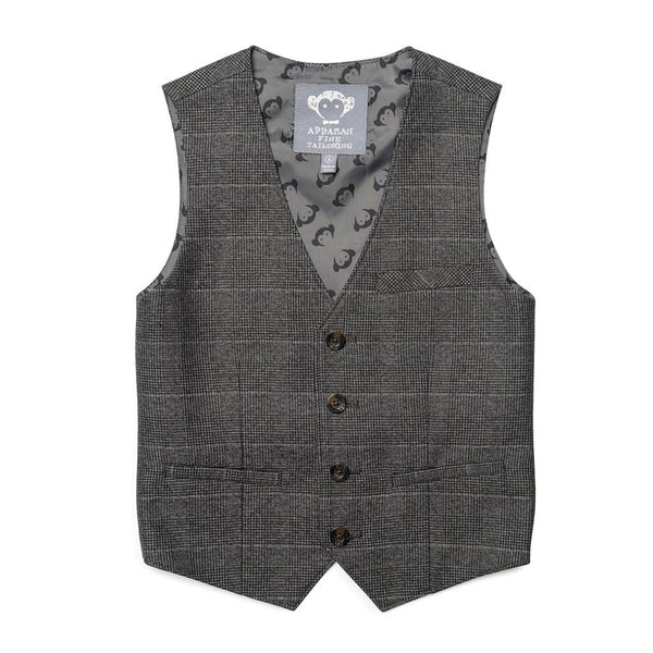Tailored Vest | Charcoal Glen Check