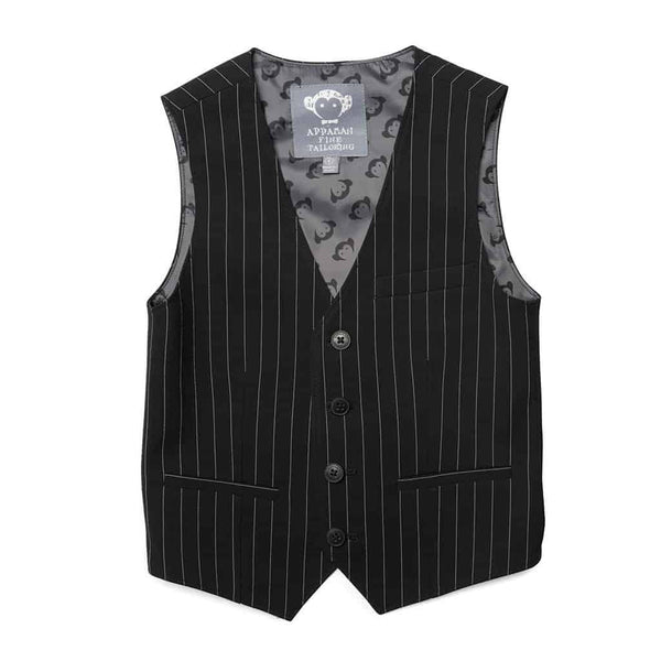 Tailored Vest | Black Pinstripe