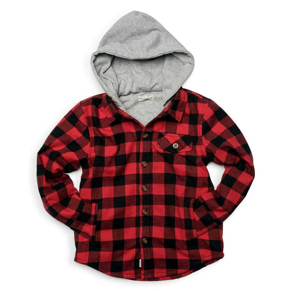 Glen Hooded Shirt | Red and Black Check