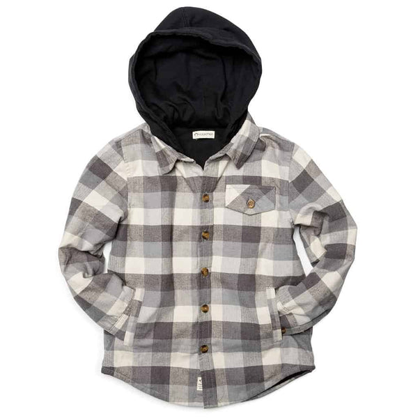Glen Hooded Shirt | Grey Check