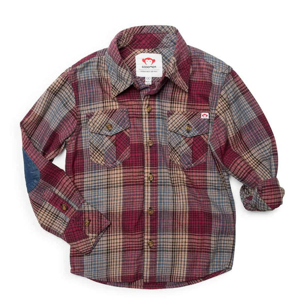 Flannel Shirt | Plum Blue Plaid