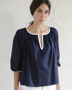 PEASANT BLOUSE NAVY