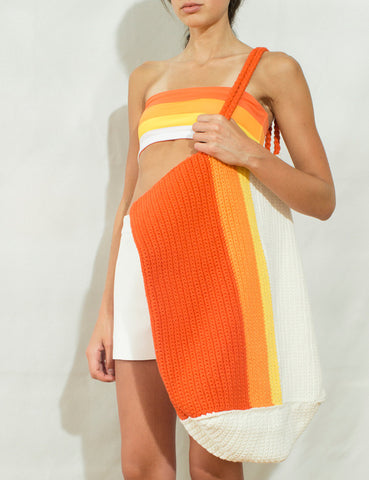 OVERSIZED BEACH TOTE - WHITE/ORANGE