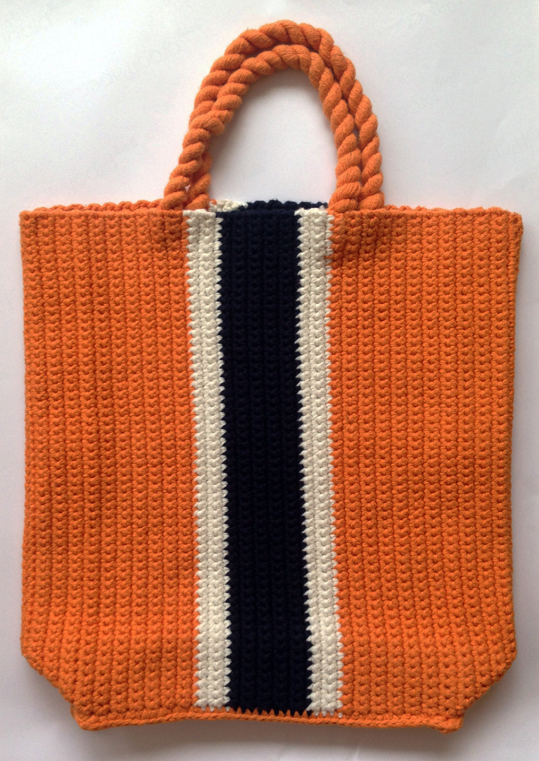 SMALL CROCHET BEACH TOTE - ORANGE