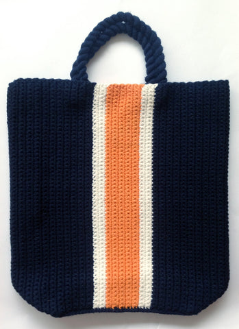 SMALL CROCHET BEACH TOTE - NAVY
