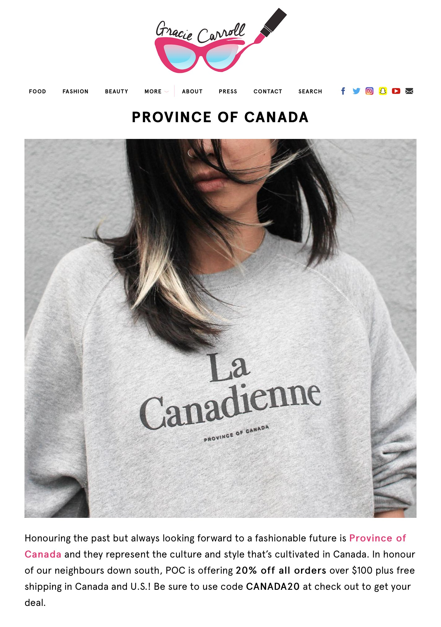 Province of Canada - Gracie Carroll Feature