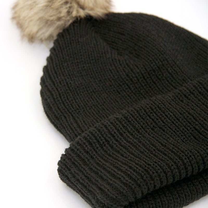 Faux Fur Pom Pom Toque - Black - Province of Canada