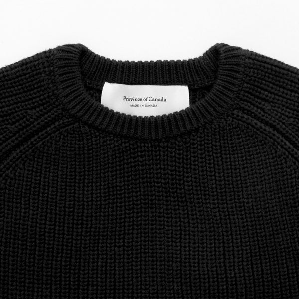Cotton Knit Sweater Black - Unisex - Province of Canada - Made in Canada